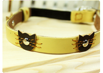 Leather Cat Collar- Cream Felix